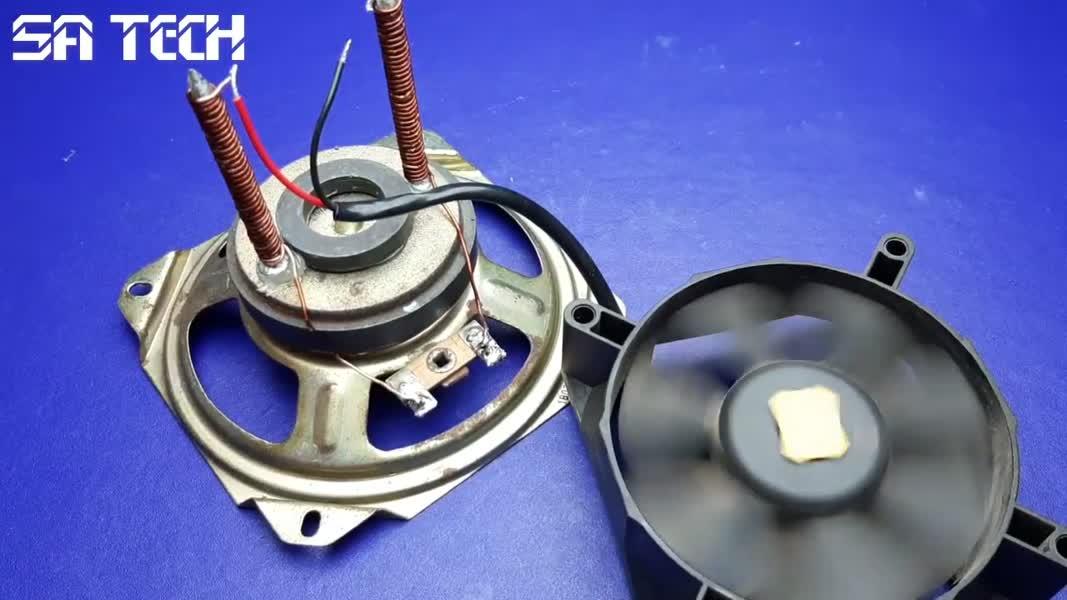 آزمایش شگفت انگیز ژنراتور تولید برق رایگان با استفاده از بلندگو و آهنربا و فن