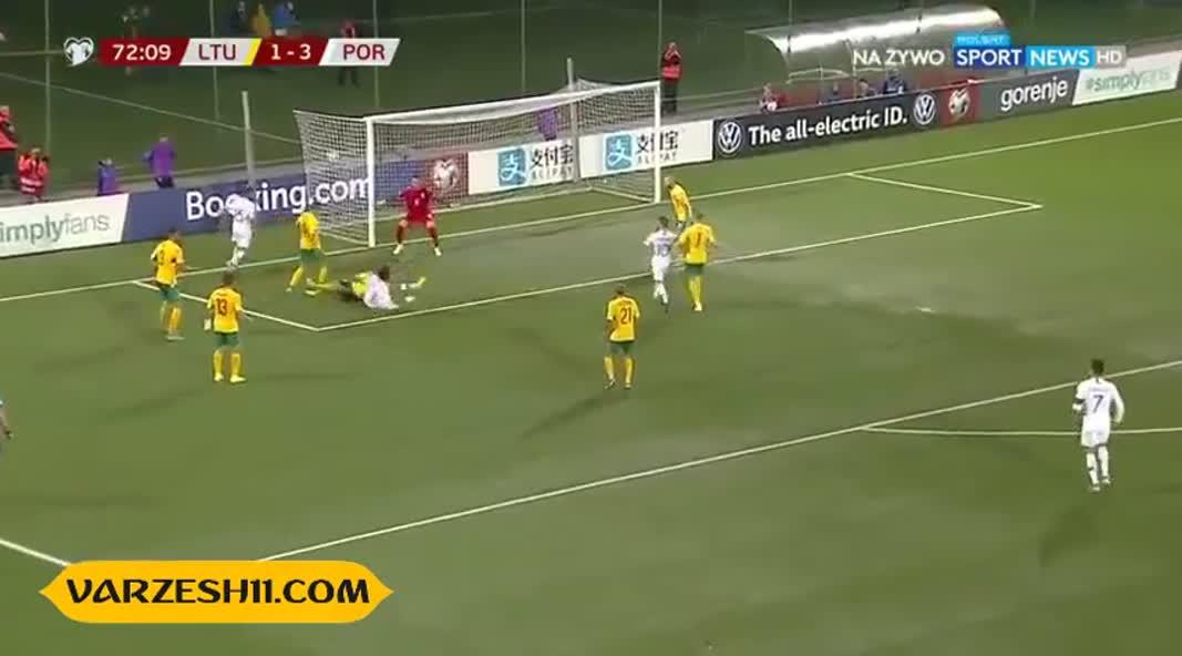 بازی پرگل کریستیانو رونالدو در برابر لیتوانی