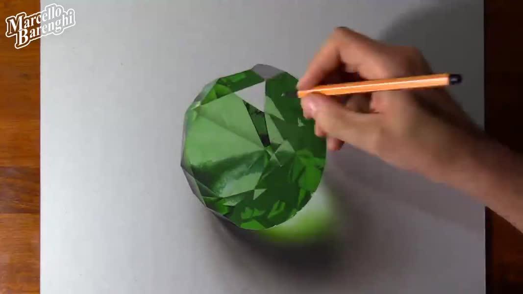 طراحی نقاشی سه بعدی زمرد
